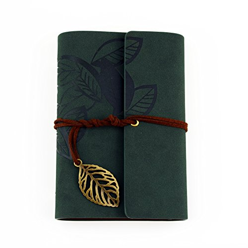 Leaf Liege (Candora Reise-Notizbuch im Vintage-Stil, Tagebuch, Leder  Green-leaf)