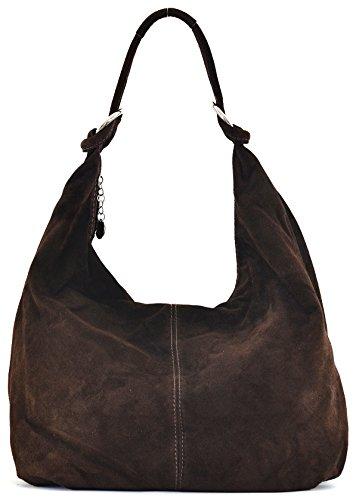 Cuir-Destock sac à main cuir nubuck femme porté main et épaule Modèle bloom marron fonce - nouvelle collection 2018