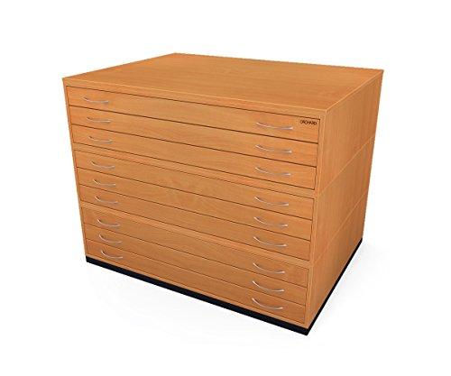 Traditionelle A09Schubladen Plan Brust Buche Papier Schrank mit neun Tiefe Schubladen halten Papier der A0 (Brust Buche Schubladen)