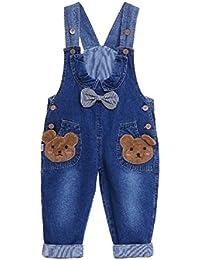 Pantalones Vaquero De Peto Para Bebé Niños Niñas Azul Largo Lindo Con Patrón De Oso Lazo Raya Overall