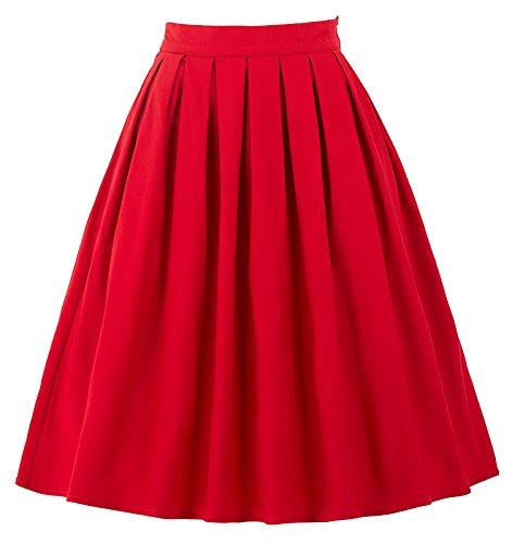 GRACE KARIN Falda Rojo Vintage Años 50 Retro para Fiesta BP154-2...