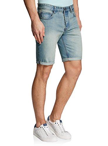 oodji Ultra Herren Jeansshorts Basic, Blau, W28 / DE 28 / EU 28