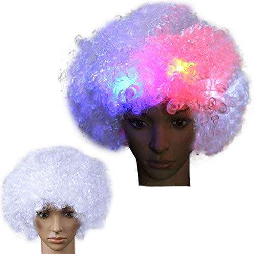 Luckhome Bob Wigs with Baby Hair Pre Plucked for All Skins Party Disco LED Flash Clown Haar Fußball Fan-Erwachsener Afro Maskerade Perücke Explosion Kopf Fake Glow Fan Nacht Marktstand (A)