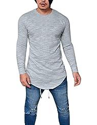 a7715bbe3 Landfox Camiseta de Manga Larga con Cuello en V para Hombres Camiseta de  Manga Larga con
