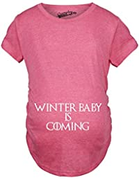 Crazy Dog T-Shirts Maternity Winter Baby Is Coming T Shirt Geek Novelty Pregnant Shirts Funny - Camiseta De Maternidad