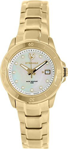 Swiss Eagle Battalion se-6043-22 – Ladies Watch – Analogue Quartz – Mother of Pearl Dial Gold Plated Steel Bracelet