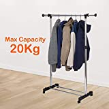 PAVITR SHOP Garment Hanging Rack, Drying Stand with Wheels Long, Clothes Horse, Portable Clothes Rail for Home & Shop, Stainless Steel.