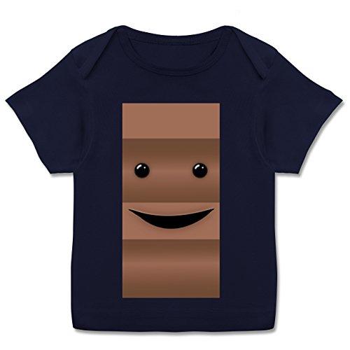 Für Baby Und Kostüm Pärchen - Karneval und Fasching Baby - Partner-Kostüm Milch und Schokolade Er - 68-74 (9 Monate) - Navy Blau - E110B - Kurzarm Baby-Shirt für Jungen und Mädchen