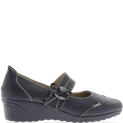 Chaussures femme bleues confort talon compensé de 4,5cm -