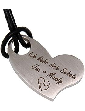 Herzförmiger Kettenanhänger mit Ihrer Wunschgravur aus Edelstahl