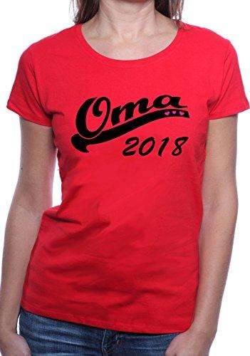 Mister Merchandise Ladies Damen Frauen T-Shirt Oma 2018 Tee Mädchen bedruckt Rot