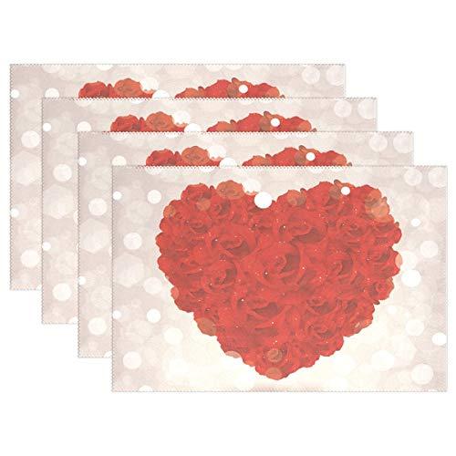 dige Tischsets, Valentinstag, Rote Rosen, waschbar, Polyester, Rutschfest, waschbar, Tischsets für Küche und Esszimmer, 4 Stück ()