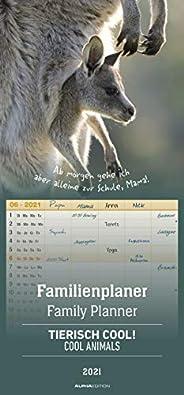 Alpha Edition Calendario per la Famiglia 2021 da Muro Cool Animals, Planner Mensile con 5 Colonne, 12 Mesi, 21