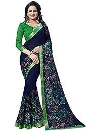 c09fecaada Hinayat Fashion Women's Chiffon Silk Saree(NHT01SRI538_ Blue_Free Size)