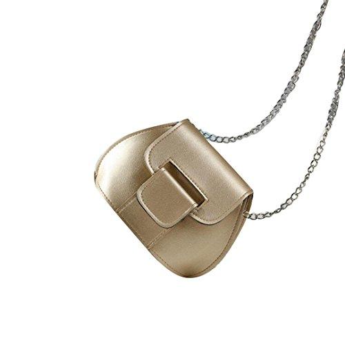 Saingace Art- und Weisefrauen-lederner Kettenhandtaschen-Kreuz-Körper-einzelne Schulter-Telefon-Münzen-Beutel Handtaschen Schultertasche Gold