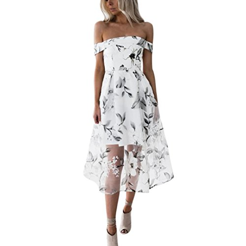FORH Damen Sexy Schulterfrei Sommerkleider Abendkleid Elegant Boho Blumendruck Strandkleid Kurzes Minikleid Casual Party Sundress Minikleid (Weiß, S) (Kurze Ein Stück)