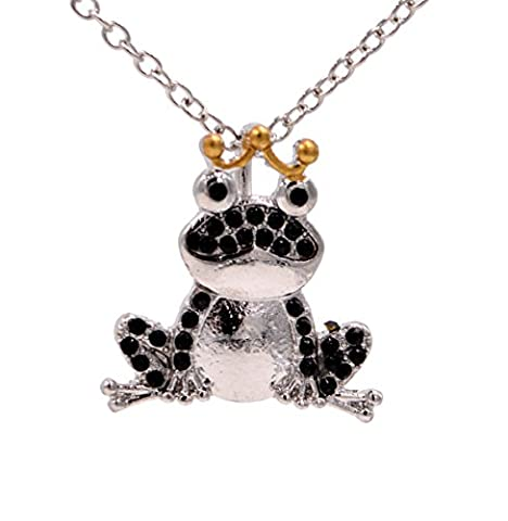 Silver Tone Crystal Little Frog Prince Pendant Necklace - Cute and Quirky 18'' - 20'' (In Organza