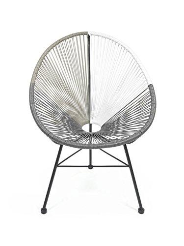 Retro Lounge Sessel Acapulco Mexiko Design Indoor & Outdoor Rahmen & Füße Pulverbeschichtet; Farbe Tricolour Dunkelgrau Hellgrau Weiss