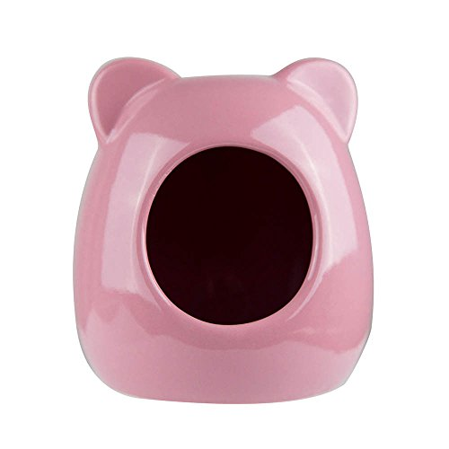 mkono-small-animal-hideout-ceramic-house-for-hamster-cat-shape-pink