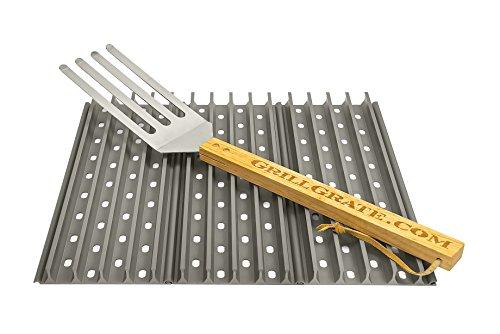 Set von drei 34,9cm GrillGrates (Interlocking) + Rost Werkzeug - 2 Erhöhten Panel