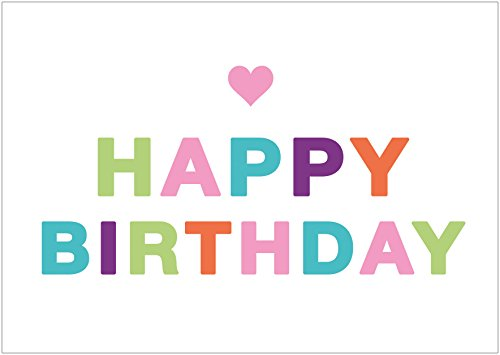 """Erhältlich im 1er 4er 8er Set: Lustig bunte Glückwunschkarte zum Geburtstag (Grußkarte/ Klappgrusskarte/ Liebe/ Geburtstagskarte) mit buntem Schriftzug und Herz. Text Englisch: \""""Happy Birthday\"""" (Mit Umschlag oder optional mit frankiertem Umschlag) (8)"""