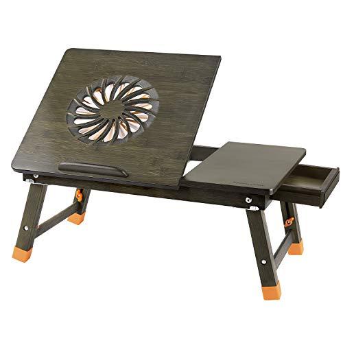 Nnewvante Laptop-Schreibtisch Verstellbarer Laptop-Schreibtisch Tisch aus 100{64822ea06a74050004172cb2029528db90e7136f31c1473a6dcf2103bea55d29} Bambus mit USB-Ventilator Faltbarer Frühstücks-Serviertisch mit Schublade-Bronze