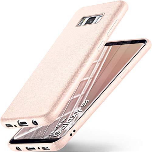 ONEFLOW Samsung Galaxy S8 | Hülle Silikon Rosé-Pink in Leder Optik Flex Back-Cover Schutzhülle Etui Handy-Hülle für Samsung Galaxy S8 Case Ultra-Slim Silikonhülle Tasche