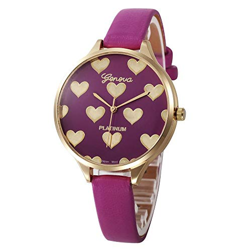 HEATLE Uhr Ansehen 1PC Gute Qualität Mode Damen Wasserdicht Beiläufig Checkers Kunstleder Quarz Analog Armbanduhr (B, Hot Pink) Hot Pink Checker