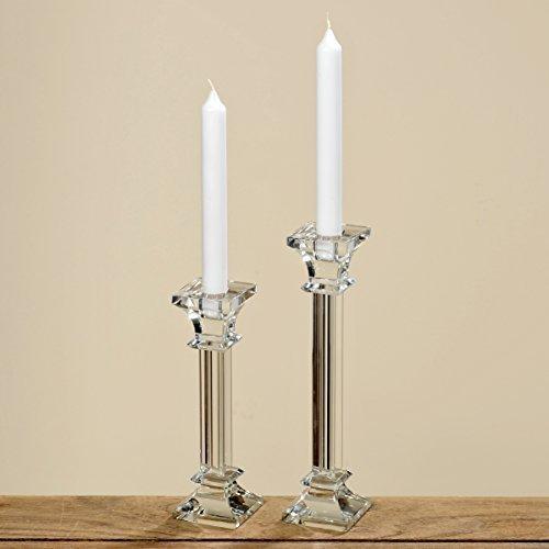 DAFLOXX Kerzenleuchter Glas 25cm einflammig Kerzenständer Tischleuchter klar Kristall