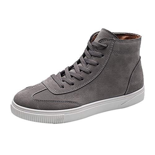 Bottines Mi-Hautes en Cuir Nubuck Homme,Overdose Solde Bottes Hiver Chaussures à Lacets Basket Basse Casual Boots
