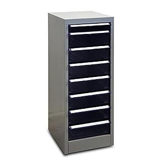 ADB Schubladenschrank mit 8 Schubladen/Schubladen-Container/Metall Büroschrank, Lichtgrau (RAL 7035), 28 x 35 x 74,5 cm, Gewicht: ca. 9,8 kg