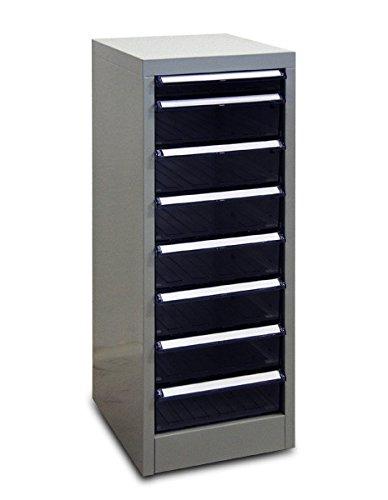 ADB Metall Schubladenschrank / Container mit 8 Schubladen Lichtgrau