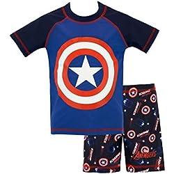 Marvel Bañador de Dos Piezas para niño Capitán América Azul 3 a 4 Años