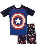 Marvel Costume da bagno per Ragazzi a Due Pezzi Capitan America Blu 5 - 6 Anni