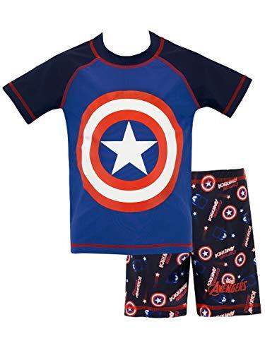 Marvel Bañador de Dos Piezas para niño Capitán América Azul 8 a 9 Años