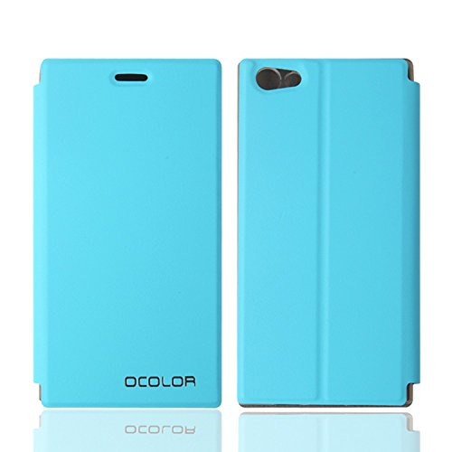 Guran® PU Leder Tasche Etui für DOOGEE Y300 Smartphone Flip Cover Stand Hülle Case-blau