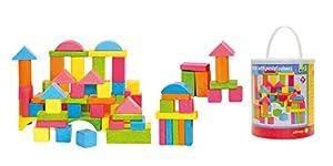 Woodyland - Bloques para niños en un Cubo (75 Piezas), Color Pastel