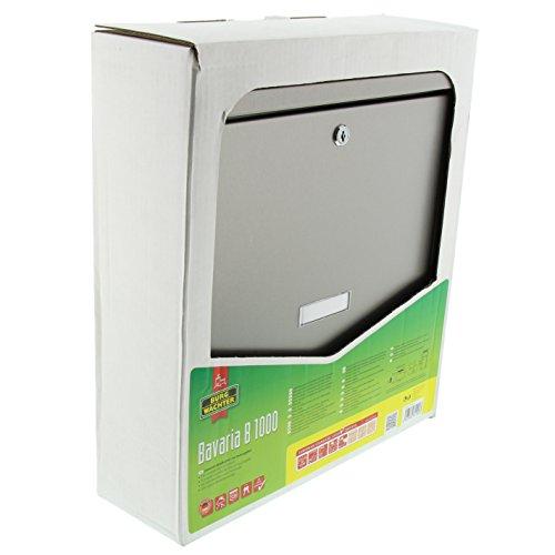 BURG-WÄCHTER, Edelstahl-Briefkasten mit aufklappbarem Regendach, A4 Einwurf-Format, Edelstahl, Bavaria B 1000 - 7