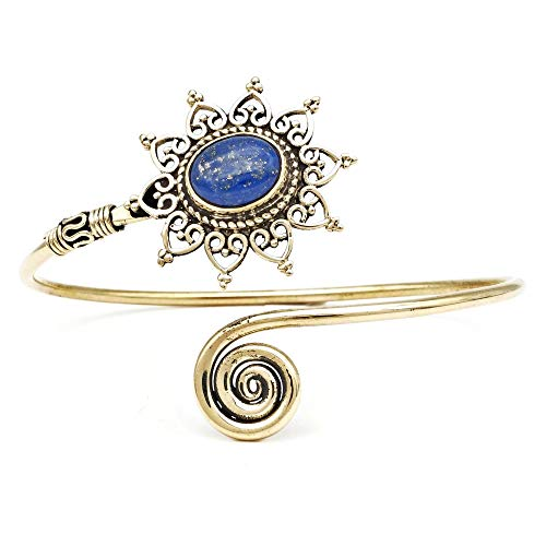 mantraroma Armreif Armband Messing golden Lapis Lazuli blau (932-05-022-06)