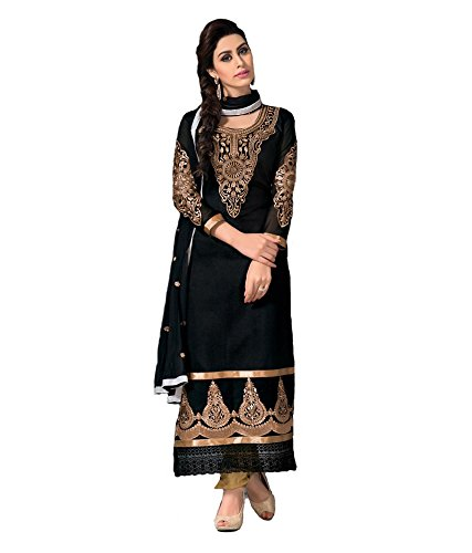 Crazy Women's Cotton Silk Dress Material (Liril_Black)