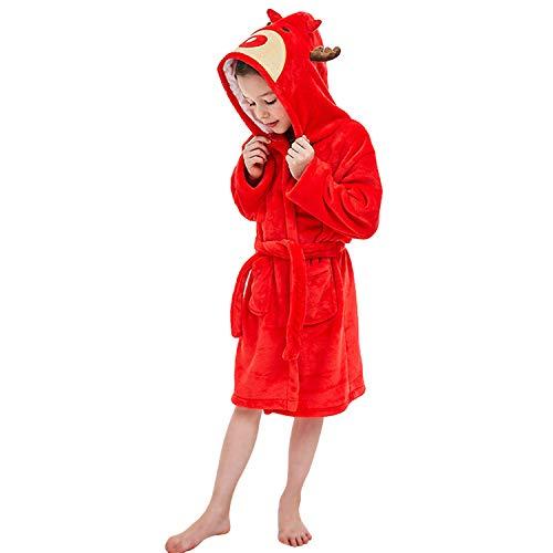 LOLANTA Mädchen weichen Kapuzenbademantel Nachtwäsche Kinder Flanell Plüsch Bademantel Fleece Robe