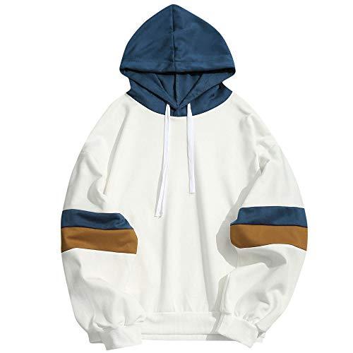 Overdose Camisa para Hombre Patchwork Casual Slim Fit Hoodie Simple OtoñO Adolescente Outwear Moda...