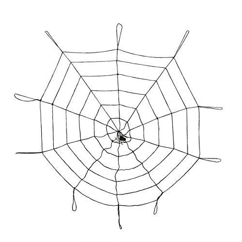 MEIDI Home Halloween Spinnennetz mit Spinne Wiederverwendbare Dehnbare Spinnweben Indoor Outdoor Halloween Dekorationen 1.5m (Schwarz) (Outdoor Spinnweben Für Halloween)