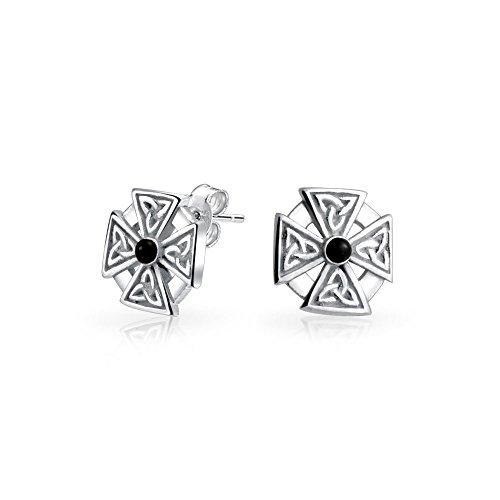 Mens Frauen Maltese Cross Black Stone Keltischer Knoten Templar Knight Cross Kleine Ohrstecker Sterling Silber ()
