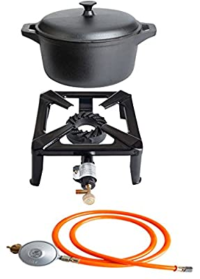 PaellaWorld 3030+4405+6601 Hockerkocher mit 8,5 kW Leistung, Abmessung 30 x 30 x 15 cm und Gusseisentopf Durchmesser 22 cm inklusive Gasschlauch und Regler
