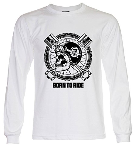 PALLAS Unisex's Motorcycle Club Vintage Born to Ride T Shirt White Long Sleeve