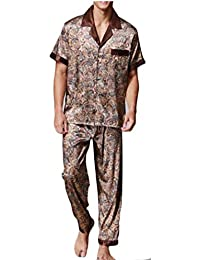 TTYLLMAO Men Short Sleeves Sleepwear Silk Satin Pajama Set Pajama Shirt and  Pant Satin Loungewear 0ae225fe5