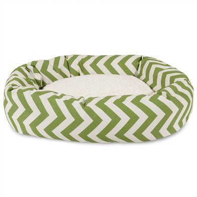 Majestic Pet 61 cm Sage Chevron Sherpa Bagel Dog Bed by