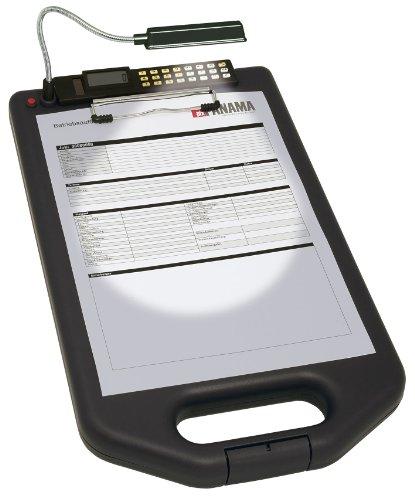 Wedo 576101 Klemmbrett (A4, mit LED-Lampe und Rechner) schwarz Schwarz Klemmbrett Mit Stift