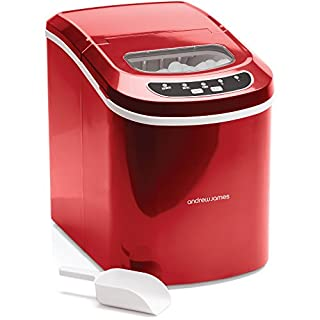 Andrew James Ice Maker Machine | Compact Portable Countertop Ice Cube Maker with 2.4L Tank | Produces Ice Cubes in Under 10 Mins with No Plumbing Required | Includes Scoop & Removable Basket | Red